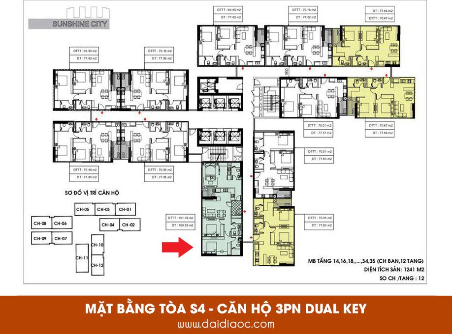 Căn hộ 3PN Dual Key tại tòa S4 Sunshine City Sài Gòn