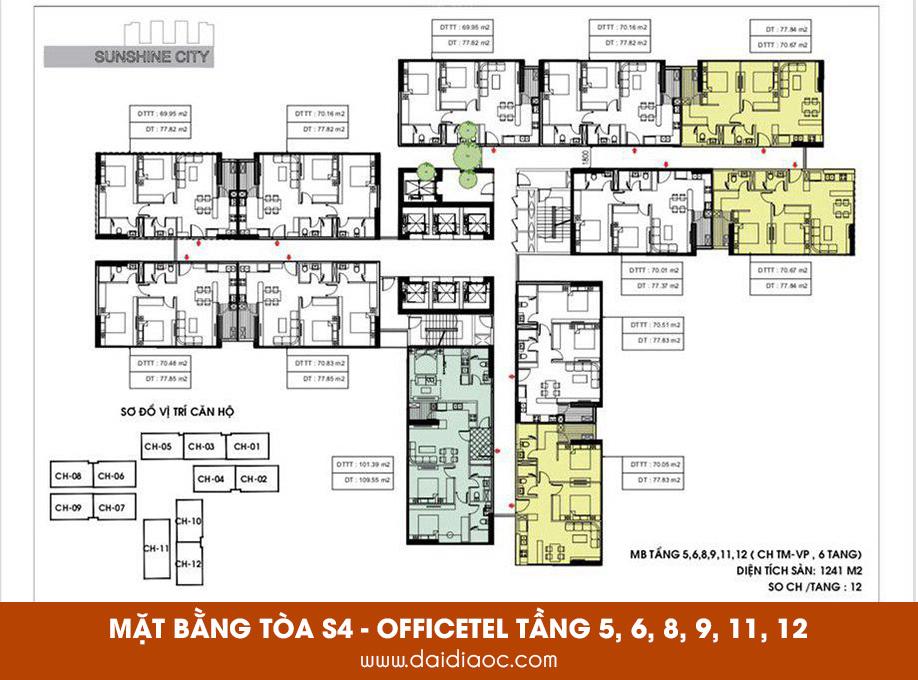 Mặt bằng tòa S4 Sunshine City Sài Gòn - Phân khu Officetel