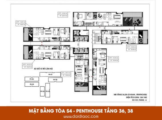 Mặt bằng tòa S4 Sunshine City Sài Gòn - Penthouse tầng 36, 38