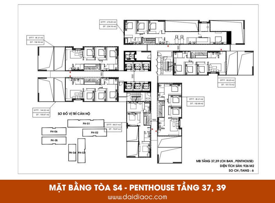Mặt bằng tòa S4 Sunshine City Sài Gòn - Penthouse tầng 37, 39