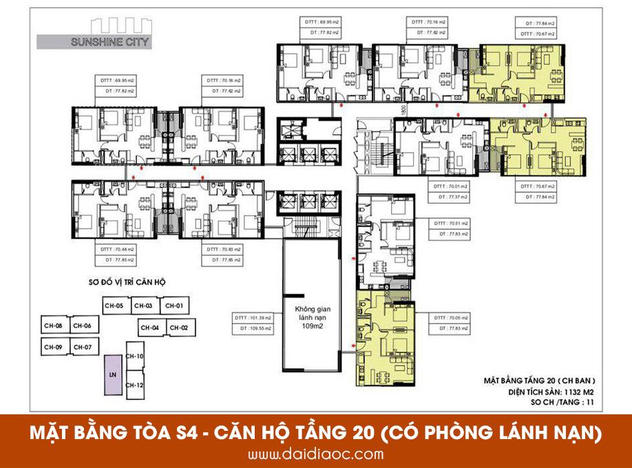 Mặt bằng tòa S4 Sunshine City Sài Gòn - Căn hộ tầng 20