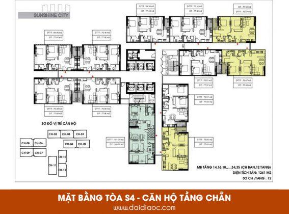 Mặt bằng tòa S4 Sunshine City Sài Gòn - Căn hộ tầng chẵn