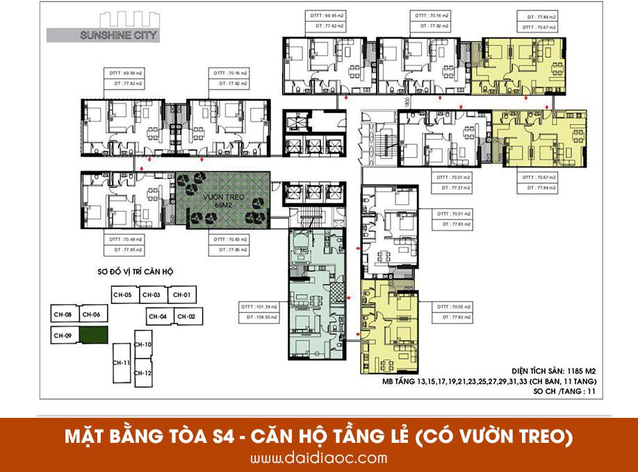 Mặt bằng tòa S4 Sunshine City Sài Gòn - Căn hộ tầng lẻ